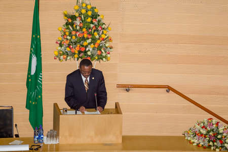 Addis Ababa, Ethiopia ? May 25: H.E. Ato Hailemariam Dessalegn, Prime minister of Ethiopia and Chairperson of the African Union delivers a key note speech at the opening ceremony of the 50th Anniversary of the OAUAU at the African Union Commission Head Q