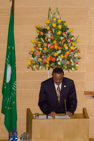 Addis Ababa, Ethiopia  May 25: H.E. Ato Hailemariam Dessalegn, Prime minister of Ethiopia and Chairperson of the African Union delivers a key note speech at the opening ceremony of the 50th Anniversary of the OAUAU at the African Union Commission Head Qu