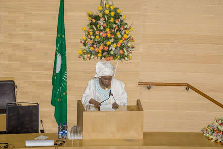 Addis Ababa, Ethiopia  May 25: H.E. Dr. Nkosazana Dlamini-Zuma, Chairperson of the African Union Commission delivers a key note speech at the opening ceremony of the 50th Anniversary of the OAUAU at the African Union Commission Head Quarters in Addis Aba