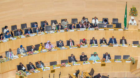 addis: Addis Ababa, Ethiopia May 25: H.E. Dr. Nkosazana Dlamini-Zuma, Chairperson of the African Union Commission delivers a key note speech at the opening ceremony of the 50th Anniversary of the OAUAU at the African Union Commission Head Quarters in Addis Abab