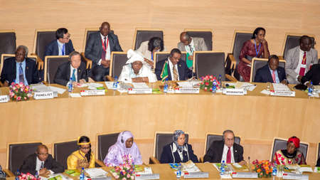 zuma: Addis Ababa, Ethiopia May 25: Prime Minister of Ethiopia, UN Secretary General, AUC Chairperson and Commissioners, and Distinguished guests at the opening ceremony of the 50th Anniversary of the OAUAU at the African Union Commission Head Quarters in Addi