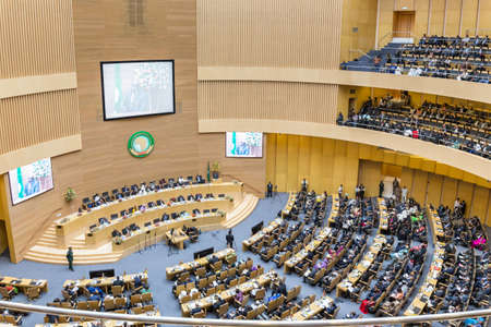ki: Addis Ababa, Ethiopia ? May 25: Prime Minister of Ethiopia, UN Secretary General, AUC Chairperson and Commissioners, and Distinguished guests at the opening ceremony of the 50th Anniversary of the OAUAU at the African Union Commission Head Quarters in Ad