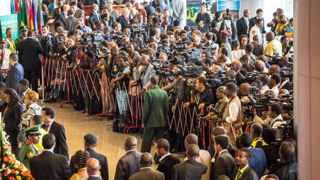 Addis Ababa, Ethiopia May 25: Media wait for Heads of states and distinguished delegates to come out from the opening ceremony of the 50th Anniversary of the OAUAU at the African Union Commission Head Quarters in Addis Ababa, Ethiopia on May 25, 2013.