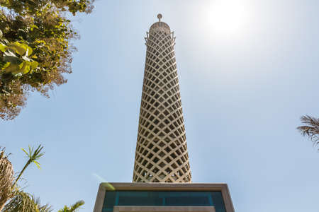 The iconic monumental Cairo tower soaring high in the sky