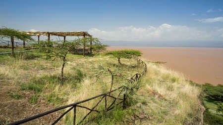clam gardens: A tranquil, green and peaceful place by shores of lake Langano in Ethiopia Stock Photo
