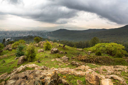 ababa: View of the beautiful landscape from the top of Mount Entoto, just outside of the city of Addis Ababa, Ethiopia Stock Photo