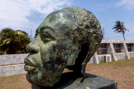 The statue of the head of former president Kwame Nkrumah of Ghana, the father of Pan-Africanism