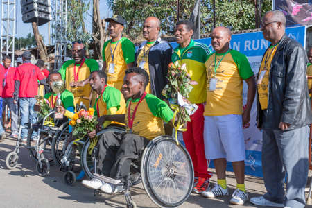 haile: The winners of the 13th Edition Great Ethiopian Run wheelchair event on the 24th of November 2013 in Addis Ababa, Ethiopia