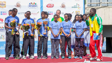 Winners of the 13th Edition Great Ethiopian Run on the 24th of November 2013in Addis Ababa, Ethiopia