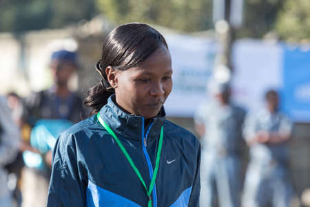 Addis Ababa, Ethiopia - November 24   2013 NY Marathon winner Priscah Jeptoo at the 13th Edition Ethiopian Great Run which took place on the 24th of November 2013in Addis Ababa, Ethiopia  Editorial