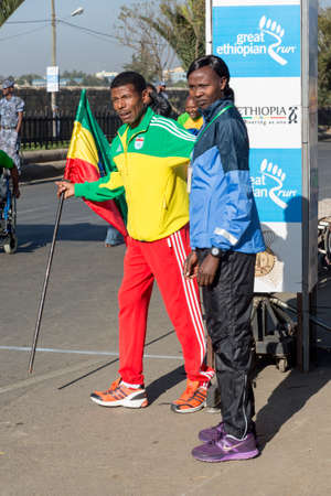 Addis Ababa, Ethiopia - November 24  World renowned athlete Haile Gebrselassie and 2013 NY Marathon winner Priscah Jeptoo at the 13th Edition Ethiopian Great Run, 24th of November 2013 in Addis Ababa, Ethiopia
