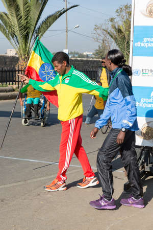 haile: Addis Ababa, Ethiopia - November 24  World renowned athlete Haile Gebrselassie and 2013 NY Marathon winner Priscah Jeptoo at the 13th Edition Ethiopian Great Run, 24th of November 2013 in Addis Ababa, Ethiopia
