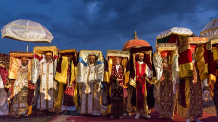 Priests carry the Tabot, a model of the Arc of Covenant, during a colorful procession of Timket celebrations of Epiphany, commemorating the baptism of Jesus, on January 18, 2014 in Addis Ababa.