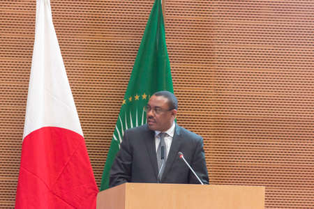 abe: H.E. Mr. Hailemariam Dessalegn, Prime Minister of the Federal Republic of Ethiopia and Chairperson of the African Union, delivers a speech  on January 14, 2014, at the African Union Headquarters in Addis Ababa, Ethiopia.