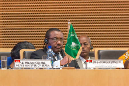 H.E. Mr. Hailemariam Dessalegn, Prime Minister of the Federal Republic of Ethiopia and Chairperson of the African Union during Japan Prime Ministers Visit  on January 14, 2014, at the African Union Headquarters in Addis Ababa, Ethiopia.
