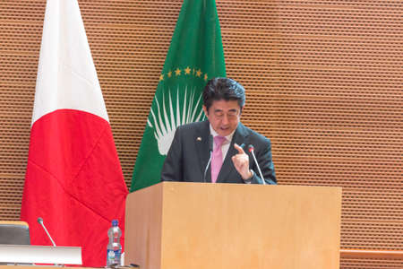 H.E. Mr. Shinzo Abe, Prime Miinister of Japan, delivers a speech on Japan's Diplomacy towards Africa, on the occasion of his visit to the Federal Democratic Republic of Ethiopia, on January 14, 2014, at the African Union Headquarters in Addis Ababa, Ethio