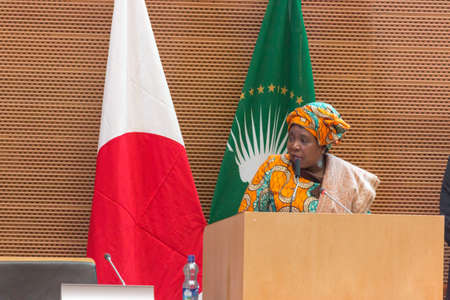 H.E. Dr. Nkosazana Dlamini-Zuma, Chairperson of the African Union Commission delivers a a speech on the occasion of Japan Prime Minister's visit to Ethiopia, on January 14, 2014, at the African Union Headquarters in Addis Ababa, Ethiopia. Sajtókép