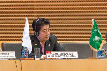 H.E. Mr. Shinzo Abe, Prime Miinister of Japan during his visit to the Federal Democratic Republic of Ethiopia, on January 14, 2014, at the African Union Headquarters in Addis Ababa, Ethiopia.