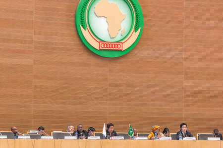 H.E. Mr. Shinzo Abe, Prime Miinister of Japan,  H.E. Dr. Nkosazana Dlamini-Zuma, Chairperson of the African Union Commission, and distinguished guests during Japan Prime Minister's Visit  on January 14, 2014, at the African Union Headquarters in Addis Aba