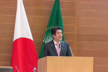 H.E. Mr. Shinzo Abe, Prime Miinister of Japan, delivers a speech on Japans Diplomacy towards Africa, on the occasion of his visit to the Federal Democratic Republic of Ethiopia, on January 14, 2014, at the African Union Headquarters in Addis Ababa, Ethio