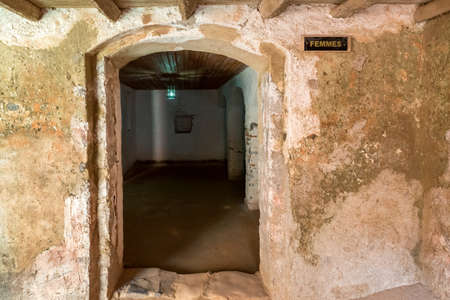 identified: Entrance to the cell where women slaves who were identified as non-virgins were kept in the house of slaves on Gorée Island Editorial