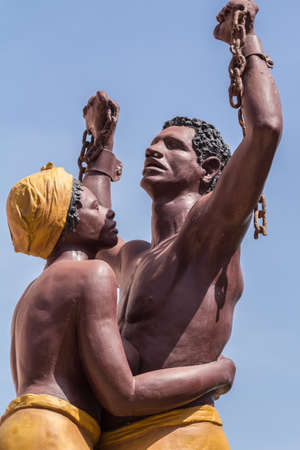 A statue of a slave breaking his chains, and woman hugging him is erected on Gorée Island to symbolize the end of slavery