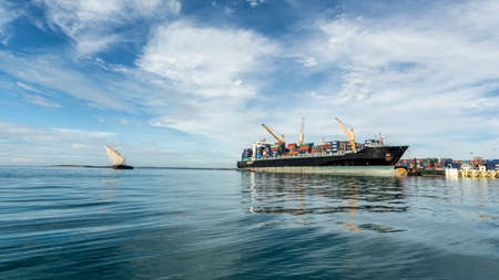 a big ship: A big ship anchored near the shores of Zanzibar, Tanzania Editorial