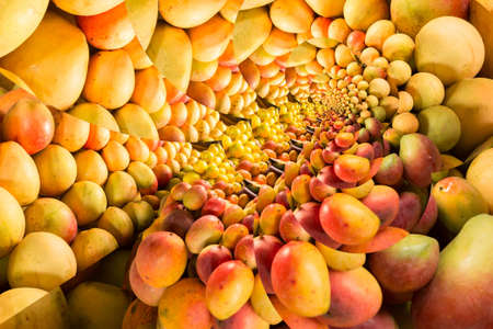 Repeating pattern of a pile of ripe mangos on a fruit stand 版權商用圖片