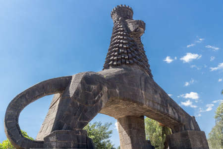 ababa: The iconic statue of the Lion of Judah in Addis Ababa, Ethiopia near the National Theater