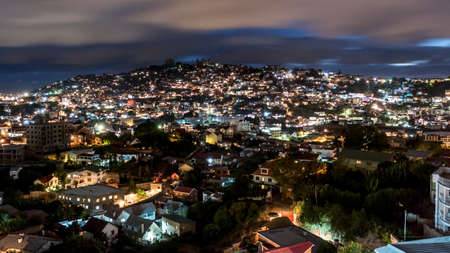 Aerial view of the Antananarivo, capital city of Madagascar, at night