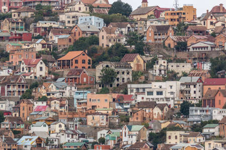 View of the densely packed houses on one of the many hills of Antananarivo, the capital city of Madagascar
