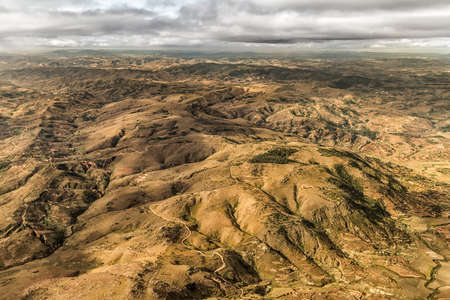 Aerial view of the of the mountainous terrain of the highland areas of Madagascar Reklamní fotografie