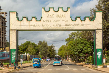 ber: HARAR, ETHIOPIA - JULY 26,2014 - A Gate with a welcoming message is placed at the border of the city of Harar. Editorial