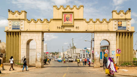 HARAR, ETHIOPIA - JULY 26,2014 - Harar Gate, also known as Dukes Gate, which was named after the first Duke of Harar, Ras Makonen, is one of the entrances to Jugol, the fortified historic walled city included in the World Heritage List by UNESCO. Editorial