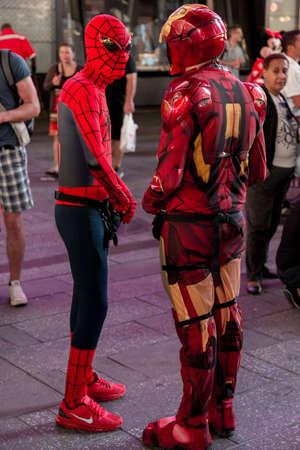 spiderman: New York - Sept 2014: costumed superheroes and children