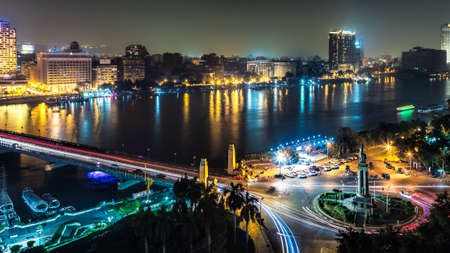 Aerial view of the city of Cairo along the Nile river photo