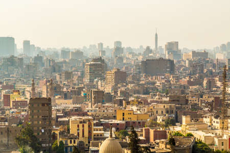 Aerial view of the city of Cairo with densely packed residential homes and buildings Фото со стока