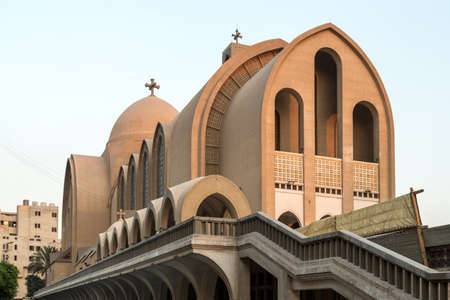 St. Marks Coptic Orthodox Cathedral, which is the seat of the Coptic Orthodox Pope is located in the Abbassia District in Cairo, Egypt. Banco de Imagens
