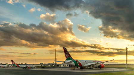 The Boeing 787 dreamliner, the latest edition for Kenya Airways, parked at Jomo Kenyatta airport in Nairobi, Kenya