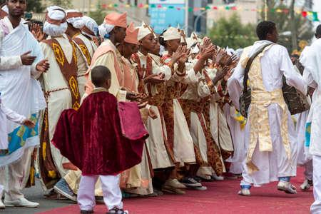 Ethiopian Orthodox followers celebrate Timket,  the Ethiopian Orthodox celebration of Epiphany, on January 19, 2015 in Addis Ababa. Editorial