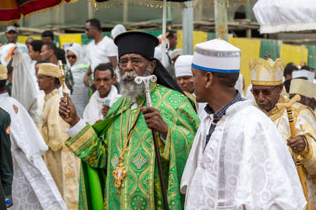 followers: Ethiopian Orthodox followers celebrate Timket,  the Ethiopian Orthodox celebration of Epiphany, on January 19, 2015 in Addis Ababa. Editorial