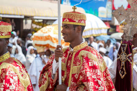 Clergy of the Ethiopian Orthodox church during a colorful procession of the Timket (Epiphany) celebrations, on January 19, 2015 in Addis Ababa. Stock Photo - 35780540