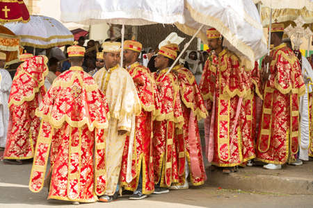 addis: Clergy of the Ethiopian Orthodox church dressed in beautiful traditional clothing during a colorful procession of the Timket (Epiphany) celebrations, on January 19, 2015 in Addis Ababa. Editorial