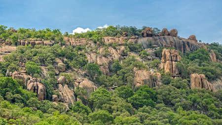 Gaborone、ボツワナの郊外の岩の丘に緑豊かな緑の植物