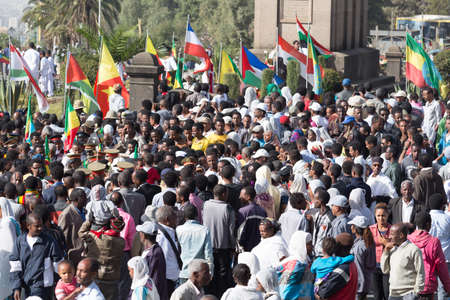 invading: Addis Ababa - Sept 2: A large crowd gathers in front of Emperor Menelik's Monument to celebrate the 119th Anniversary of the Ethiopian Army's victory over the invading Italian forces in the 1896 battle of Adwa. September 2, 2015, Addis Ababa, Ethiopia