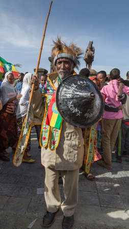 invading: Addis Ababa - Sept 2: A decorated war veteran attends the celebrations of the 119th Anniversary of the Ethiopian Army's victory over the invading Italian forces in the 1896 battle of Adwa. September 2, 2015, Addis Ababa, Ethiopia.
