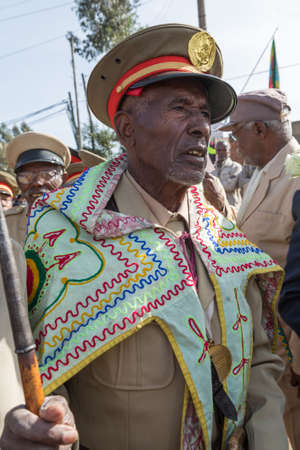 invading: Addis Ababa - Sept 2: A decorated war veteran attends the celebrations of the 119th Anniversary of the Ethiopian Army's victory over the invading Italian forces in the 1896 battle of Adwa. September 2, 2015, Addis Ababa, Ethiopia. Editorial