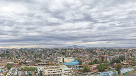 ababa: Aerial view of the city of Addis Ababa, showing the densely packed houses Editorial