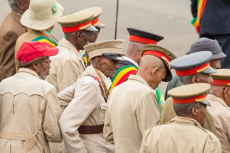 invading: Addis Ababa  May 5: Arbegnoch Patriots and old war veterans attend the 74th anniversary of Patriots Victory day commemorating the defeat of the invading Italians on May 5 2015 in Addis Ababa Ethiopia.