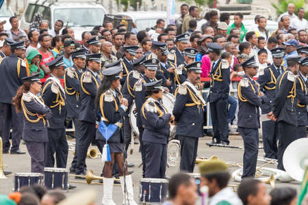 invading: Addis Ababa  May 5: The Ethiopian Police Marching Band performs at the 74th anniversary of Patriots Victory day commemorating the defeat of the invading Italians on May 5 2015 in Addis Ababa Ethiopia. Editorial